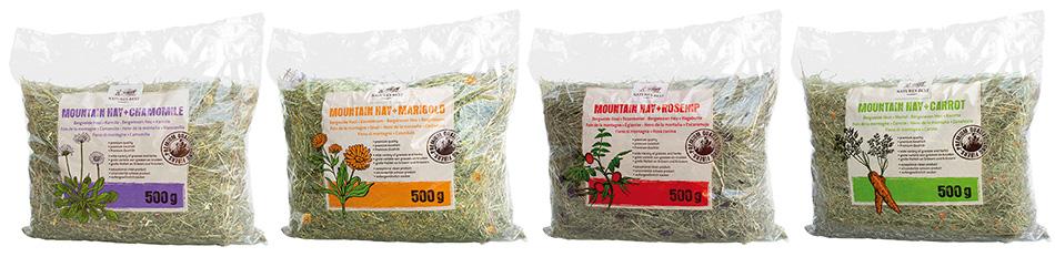 Etwas ganz besonderes zu produzieren ist für uns das Wichtigste: Heu mit Ringelblume, Kamilie, Karotte oder Hagebutte